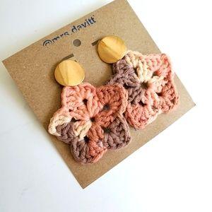 Handmade boho crochet star studs earrings